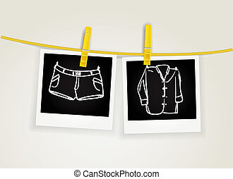 Foto cards of clothes drying on rope