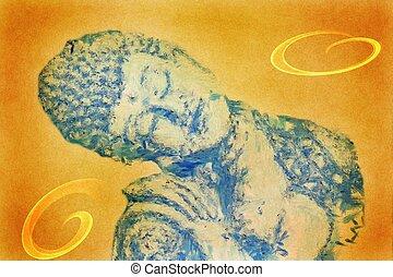 Buddah - sleeping Buddah on orange Backround