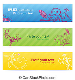 Set of floral colorful banners