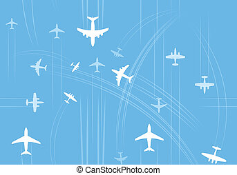 Airplanes trajectories over the abstract map oe europe