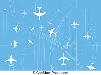aviones, trayectorias