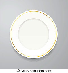 White plate with gold rim on grey
