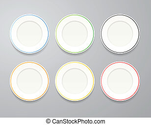 White plates set with colorful rims