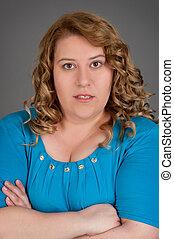retrato, mujer, grasa