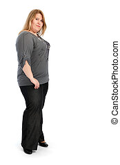 young fat woman isolated on white
