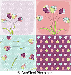 seamless patterns with floral fabric texture