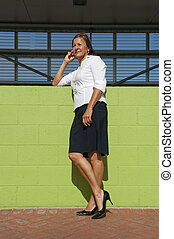Business woman posing at wall - An attractive looking mature...