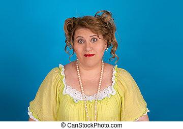 retrato, mujer, grasa, lindo