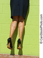 Sexy female legs hanging mid air - Sexy legs of a woman,...