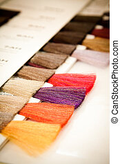 Hair dye colour swatch - At the hairdresser's: a hair dye...