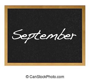 September. - Isolated blackboard with September.