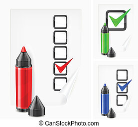 Markers with check marks on paper - Color felt tip pens with...