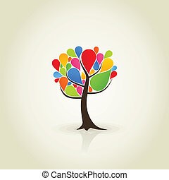 Abstract tree3 - Abstract tree from paint dabs. A vector...