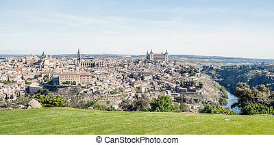 Distant view of the the Spanish city of Toledo, in one side...