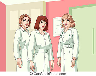 Nurses - Three smiling cartoon nurses, reception wall as a...