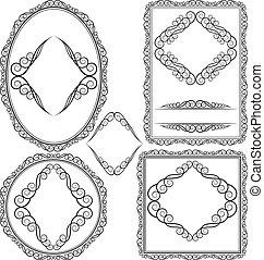 frames - square, oval, rectangular, circular - vecto set -...