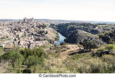 Toledo - View of the Spanish city of Toledo, seen from the...