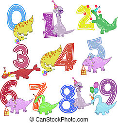 Set of color figures with dinosaurs