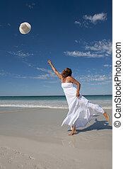 Beautiful Woman White Dress Beach