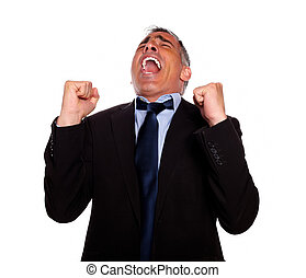 Excited man celebrating a victory - Portrait of a excited...
