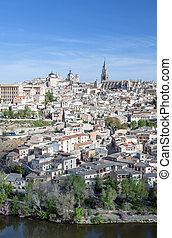 Toledo - View of the Spanish city of Toledo in vertical,...