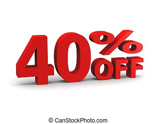 forty percent off in red 3d letters