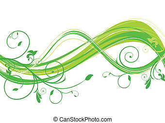 abstract eco floral wave vector illustration