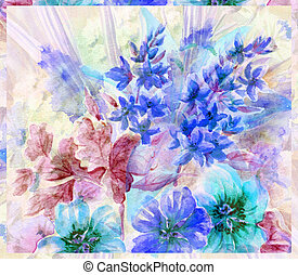 Water colour, abstract flowers - Picture, abstract flowers...