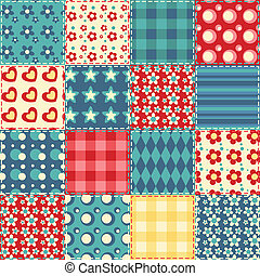 キルト, seamless, パターン, 2