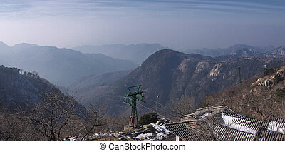 the landscape of mount taishan shandong province china