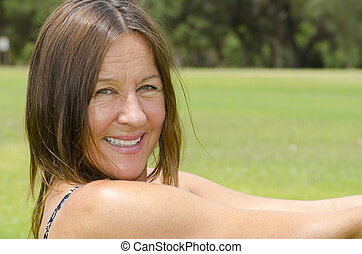 Portrait attractive mature woman - Portrait of an attractive...