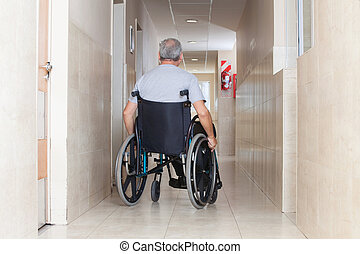 Senior Man Sitting In a Wheelchair - Rear view of a senior...