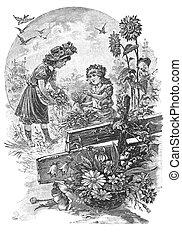Two girls maintain a garden - RUSSIA - CIRCA 1902:...