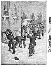 Children have a snowball fight near the school