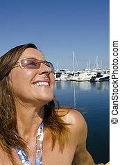 Portrait happy mature woman