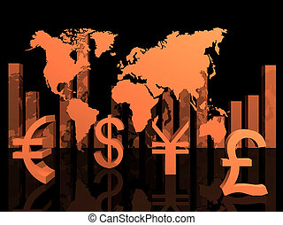 illustration of trade currencies around the world