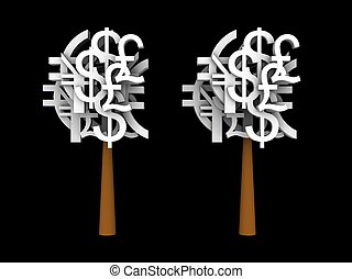 illustration of a currency tree - 3d illustration of a...