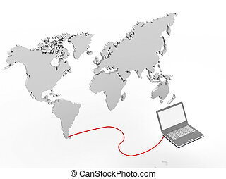 illustration of a laptop connected to a world map