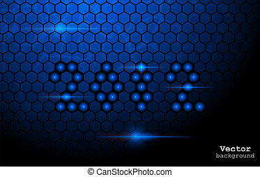 Blue abstract glowing background - Vector illustration of...