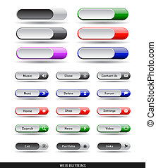 Web buttons pack - Set of color plastic buttons for web...