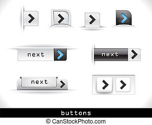 Set of grey web buttons - Set of grey buttons. Vector eps10...