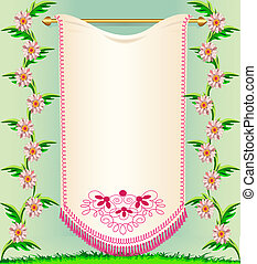 napkin on background rose colour and herbs