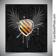 Glossy shield emblem on black background - Glossy black and...