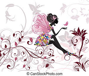 Flower Fairy with butterflies