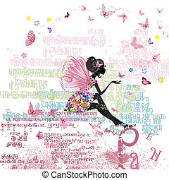 Fairy on the grunge background with letters