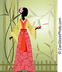 Chinese girl bamboo grove