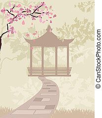 gate china with cherry blossoms