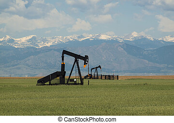 Pumpjack on agricultural field in Colorado.
