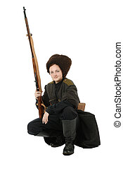 Russian Cossack smiling with rifle in squatting position -...