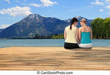 湖, 婦女, 二, 聊天, 年輕